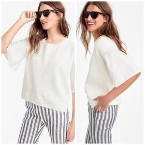 J. Crew White Knit Short Bell Sleeve Sweater Top